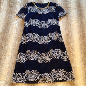 Jessica Simpson | Navy White & Gold Lace Overlay 4